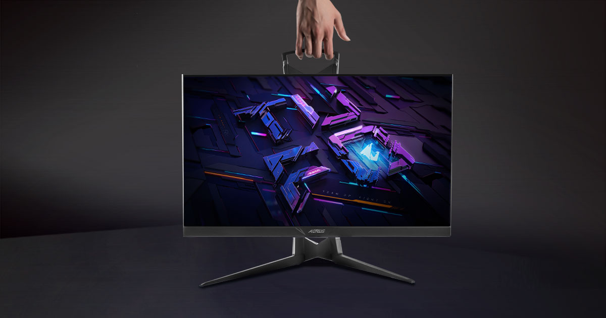 a hand carry the Aorus KD25F monitor
